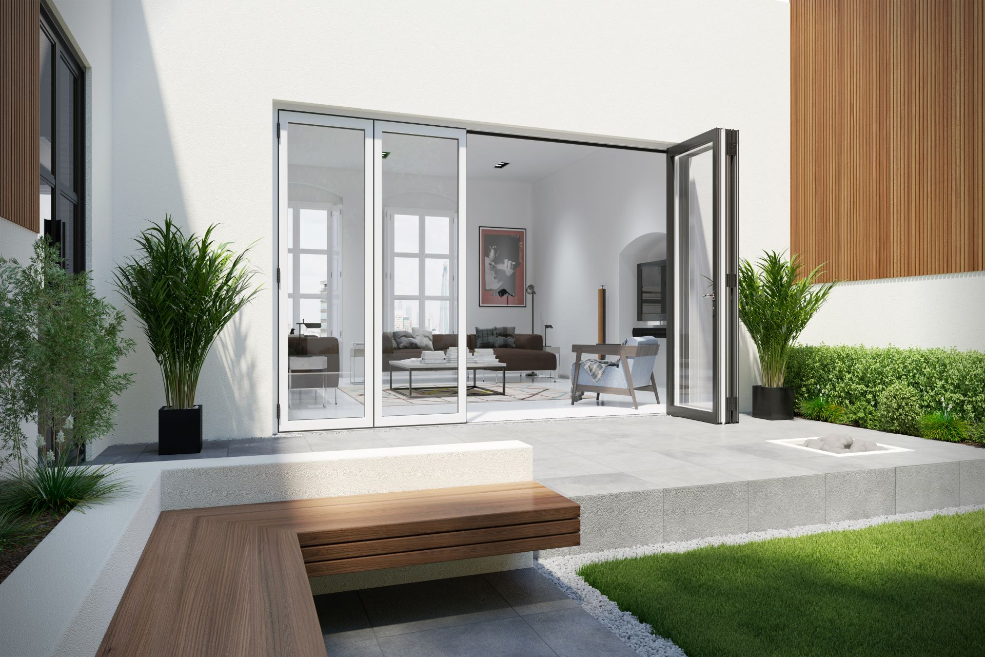 Bi Folding Doors Contemporary Exterior 3 4 Final Hr V02 02